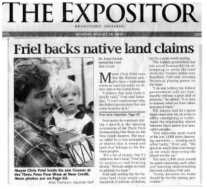 Politician (Brantford Mayor) Friel admits claims are massive - legit - and must be paid in August 28 2000, but now says he's not squatting.