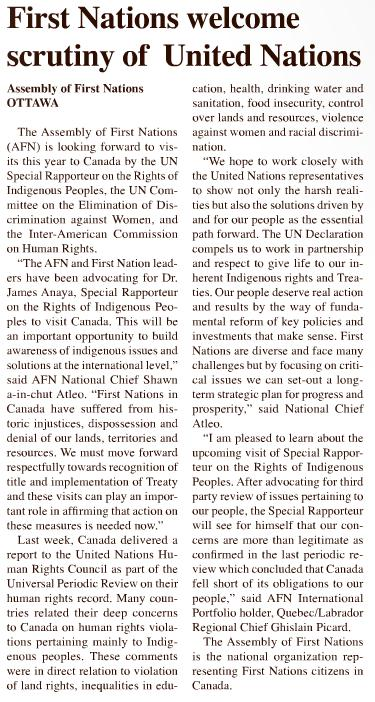 2013 may 15 - teka news - First Nations welcome scrutiny of United Nations