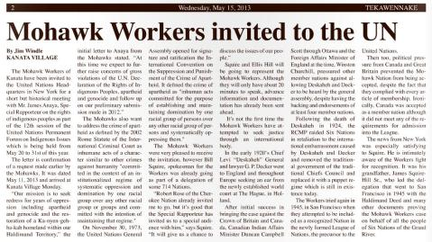 2013 may 15 - teka news - Mohawk Workers invited to UN