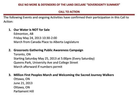 2013 may 20 idlenomore call to action defenders of the land may 20 our water is not for sale