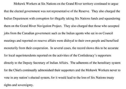 The Rising of the Ongwehonwe - Sovereignty Identity and Representation - Mohawk Workers charge corruption