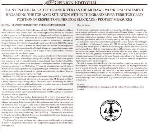 June 18 2013 Statement of Ka-nyen-geh-ha-kah of Grand River Mohawk Workers