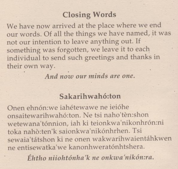 thanksgiving - closing words